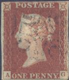 1841 1d Red SG8 Plate 21 'AG'
